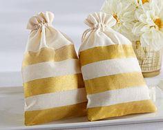 Gold stripe muslin bags