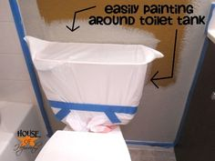 Before painting around a toilet, remove the toilet tank lid and cover the entire tank with a kitchen trash bag. #paintingtips