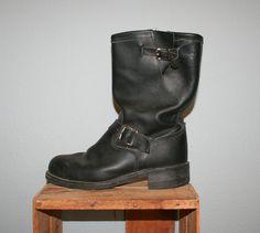 Vintage ENGINEER BOOTS / Men's Black Leather Harness Biker Boots
