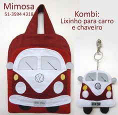 Projeto Lixinho para Carro e Chaveiro de Kombi