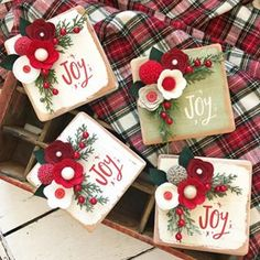 I'm so excited to launch these babies🎄❤️! Expect to see lots of these this Christmas season! Perfect for gift giving and also free standing as the perfect little shelf sitter! Christmas Blocks, Christmas Wood, Christmas Signs, Homemade Christmas, Christmas Projects, All Things Christmas, Christmas Holidays, Christmas Decorations, Christmas Ornaments