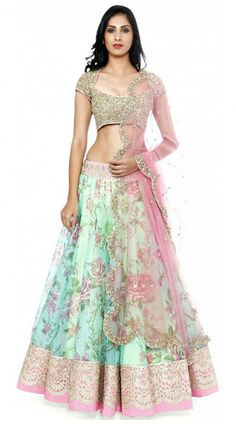 Outstanding Sea Green Net Designer Lehenga Choli With Light Pink Dupatta