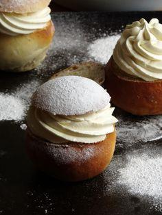 Semlor: Swedish Almond-Cream filled Cardamom Buns