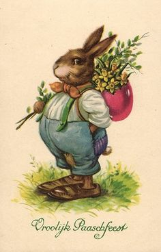 Easter bunny with egg and flowers cute old Dutch artist postcard | eBay