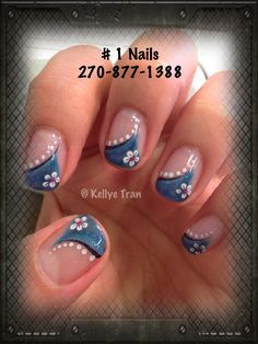 Shellac / Gelish Nail Art blue w blk accent Gel Polish Designs, Shellac Nail Designs, Cute Nail Designs, Shellac Nails, Nail Manicure, Manicures, Funky Nails, Love Nails, How To Do Nails