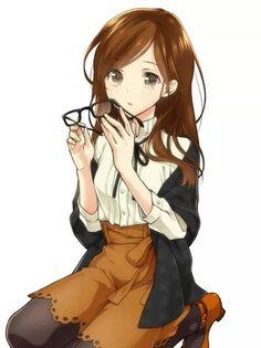 anime, girl, and brown hair image
