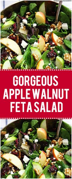 I love salads, but not just any salad. It has to be some yummy mesclun mix at th… I love salads, but not just any salad. It has to be some yummy mesclun mix at the very least, and when it looks like this gorgeous apple walnut feta salad I'm a happy girl! Apple Salad Recipes, Green Salad Recipes, Healthy Salad Recipes, Salad With Feta Recipe, Fall Apple Salad Recipe, Salad With Walnuts, Recipes With Feta, Apple Recipes Dinner, Walnut Recipes