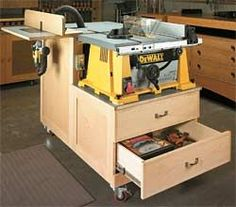 """Table Saw Workstation Portable power tools, like a table saw or router, are great when you're working away from the shop. But once they're back """"home,"""" the challenge is to make them perform like hard-working stationary tools. This workstation provides the solution. The cutting diagrams and materials list are available to download in this Online Extra. (See download link above)"""