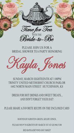 Bridal Shower Vintage Tea Party Invitation Printable by kjones4099, $10.00