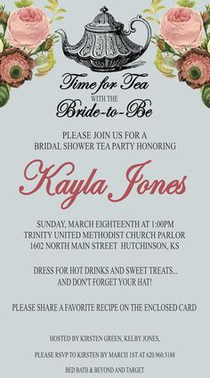 Click on this, and see how they wrap the invite in a doily! Super easy, super cute :) Bridal Shower Vintage Tea Party Invitation Printable by kjones4099, $10.00