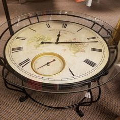 Timeless Treasures Wrought Iron Clock Table - (In-Store Pickup)