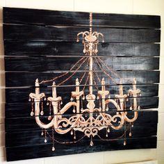 Chandelier pallet art. Wall decor