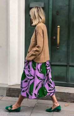 Green suede Gucci loafers and floral maxi skirt