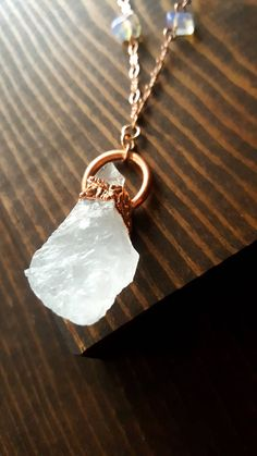 Raw Quartz Necklace, Raw Quartz, Electroformed Quartz, Moonstone, Angel Aura & Opal Necklace, Raw Crystal, Rough Cut Quartz, Healing by LovesGardenJewelry on Etsy