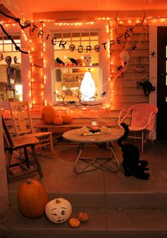 Inviting Halloween porch