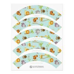 Envoltórios do cupcake dos animais do safari papel de carta