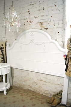 Painted Cottage Romantic French Full / Twin Bed Headboard | Etsy White Headboard, Twin Headboard, Headboards For Beds, Headboard Makeover, Garden Route, Painted Cottage, Full Bed, Painted Furniture, Toddler Bed