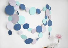 ~ Blue Aqua Lilac Paper Garland, Boys Room Wall Decor ~  You can decorate any space with it - not only your kid;s room, but also the party walls or table, your bedroom, living room or even your workspace. This totally handmade paper garland consists of numerous circles, made of blue, aqua and lilac pearled cardstock, stitched together with threat in suitable color.  ----- Size of the circles: 8cm, 6cm and 4cm Length: You can choose the length and quantities from the drop-down menu -----  Eac... Hen Party Decorations, Birthday Decorations, Baby Room Decor, Wall Decor, Party Garland, Circles, Lilac, Card Stock, Aqua