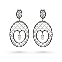 TEARDROPS IN THE SNOW EARRINGS by VOTIVE • Black and White Diamonds, 18k White Gold.