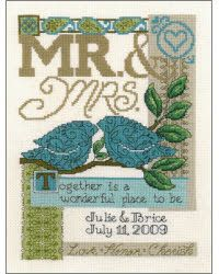 A beautiful, contemporary counted cross stitch pattern for a wedding. Love this.