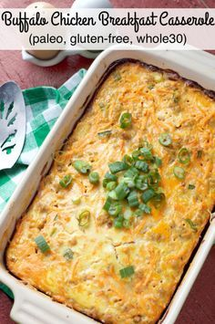 and Buffalo Chicken Breakfast Casserole. Flavors of Buffalo Wings combine for a delicious, gluten-free breakfast casserole!Paleo and Buffalo Chicken Breakfast Casserole. Flavors of Buffalo Wings combine for a delicious, gluten-free breakfast casserole! Buffalo Wings, Paleo Recipes, Real Food Recipes, Cooking Recipes, Free Recipes, Paleo Casserole Recipes, Dinner Recipes, Paleo Whole 30, Whole 30 Recipes