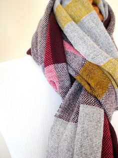 Merino cashmere scarf in Bordeaux, grey, pink, mustard yellow Handwoven. $130.00, via Etsy.