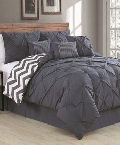 Geneva Home Fashions Charcoal Ella Seven-Piece Comforter Set   zulily