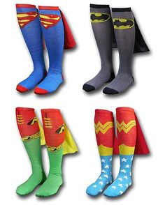 Check out these unusual Superhero Socks, which are sold complete with little mini capes. They come in Superman, Batman, Robin and Wonder Woman varieties. Sweet!