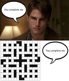 """Tom Cruise as Jerry Maguire: """"You complete me""""; and a crossword"""