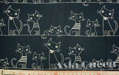 Cats on the rope  half yard  cotton linen  by AsiaQueencottonshop