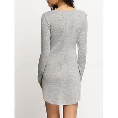 Grey Scoop Neck T-shirt Dress (35 BRL) ❤ liked on Polyvore featuring dresses, grey dress, grey t-shirt dresses, grey tee shirt dress, scoop neck dress and gray tee shirt dress