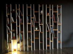 Acquista on-line R60 | libreria in faggio By kann design, libreria laccata a parete in legno di recupero design Nicola Santini, Pier Paolo Taddei, Collezione recylced