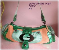 Womans Guess Barrel Baguette Purse Green by 9DollarVintagePlace