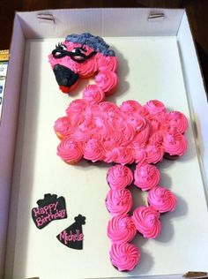 Lady Flamingo cupcake cake