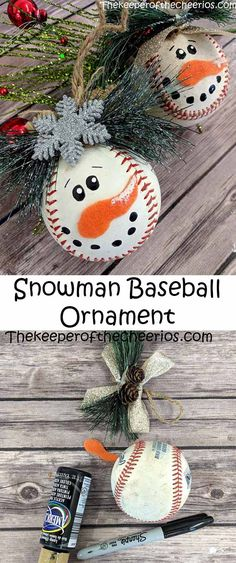 Snowman Baseball Christmas Ornament Christmas Ornament Baseball Ornament Snowmanornament Happy New Year Snowman Ornaments, Snowman Crafts, Holiday Crafts, Snowman Decorations, Baseball Christmas Ornaments, Silver Christmas Decorations, Homemade Christmas, Simple Christmas, Christmas Crafts