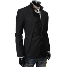 TheLees Mens unbalance 2 button china collar jacket Black Large(US Medium) TheLees,http://www.amazon.com/dp/B00BV2SXYG/ref=cm_sw_r_pi_dp_Du6-rb01X6PHY86F This is awesome
