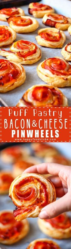 Puff Pastry Bacon Pinwheels with Cheddar ~ Easy and fast Puff Pastry Bacon Pinwheels with Cheddar Cheese. Perfect for parties and family gatherings. Only 5 ingredient and ready in 25 minutes via (fast and easy party snacks) Party Finger Foods, Finger Food Appetizers, Easy Appetizer Recipes, Easy Snacks, Appetizers For Party, Brunch Recipes, Party Recipes, Breakfast Finger Foods, Dip Recipes