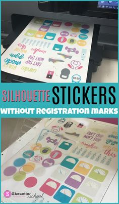 Cutting Silhouette Stickers Without Registration Marks (Free Sticker Set) (Silhouette School) Print And Cut Silhouette, Silhouette School Blog, Silhouette Cameo Vinyl, Silhouette Cameo Tutorials, Silhouette Curio, Silhouette Machine, Silhouette Projects, Silhouette Portrait, Silhouette Files