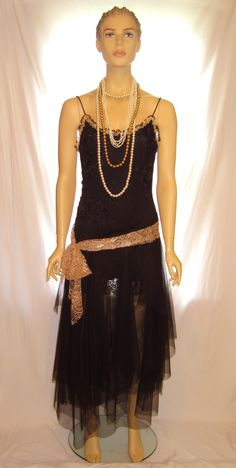 Black tulle and lace thin strap Great Gatsby dress costume, women's flapper dress by MyUpcycle.Com