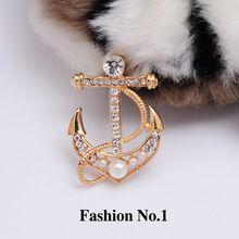 Frete grátis alta qualidade moda jóias Crystal Clear Anchor simulado pérola 18 k banhado a ouro pinos broche de strass cristal(China (Mainland))