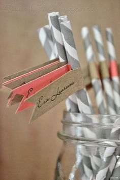 Grey+and+White+Straws+with+Coral+and+Brown+by+BeccaAnnBondDesigns,+$0.75