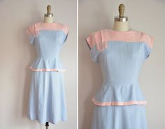 RESERVED 40s Sugar & Salt Blue dress/ vintage 1940s linen dress/ 40s pastel peplum dress