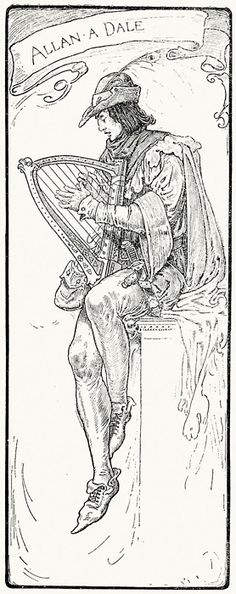 Allan-a-Dale.  Louis Rhead, from Bold Robin Hood and his outlaw band, New York, London, 1912.  (Source: archive.org)