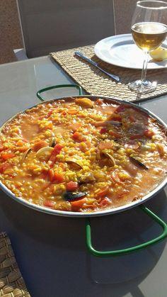 Made paella for lunch today! [3264x1836] [OC] #foodporn #food #foodie #yummy #yum #foodgasm #nomnom #delicious #recipe