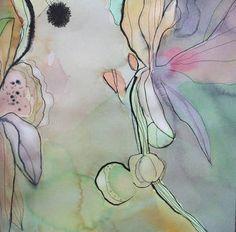 "to use as inspiration for silk painting  Saatchi Art Artist Marsha Boston; Painting, ""Strangely Green"" #art"