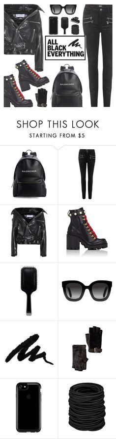 """""""All Black Everything"""" by rasa-j ❤ liked on Polyvore featuring Balenciaga, Paige Denim, Gucci, GHD, MICHAEL Michael Kors, Speck, L. Erickson, womensFashion and allblackoutfit"""