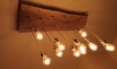 Lampadario in legno di castagno con 12 punti luce
