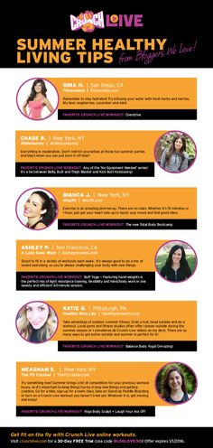 Summer Healthy Living Tips from Fitness Bloggers We Love + their favorite #CrunchLive online workouts. FREE 30-Day Trial at CrunchLive.com.