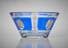 Hazel Atlas Glass Bowl, Blue & Gold, Grapes Wheat Pattern, Dip Bowl for Chip Set, Bar Snacks, Vintage Kitchen, Retro Collectible Bar-Ware by FabsAndFaves on Etsy