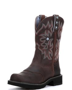 <p>This Ariat ProBaby boot is made with full grain leather upper, in a dark driftwood brown color. The design is highlighted with red, light blue and cream six-row stitch detail. Additional flare is added with light blue star inlays on the upper shaft and pull straps.</p><p>The Ariat ProBaby boots are performance riding boots, made with Ariat's signature ATS technology for exceptional stability and support. The Pro Crepe sole with Duratread heel delivers lightweight cushioning with maximum…